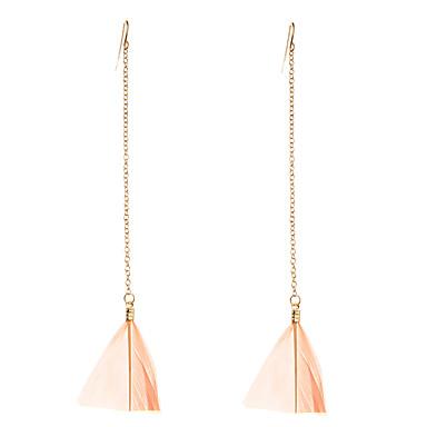 Damen Tropfen-Ohrringe Schmuck Luxus Schmuck mit Aussage Handgemacht Euramerican nette Art Dehnbar Feder Flügel Schmuck Weiß Rosa