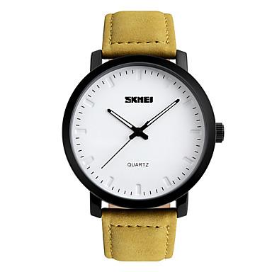 SKMEI Heren Dress horloge Modieus horloge Japans Kwarts Waterbestendig PU Band Cool Geel