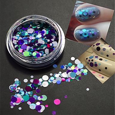1bottle muoti pyöreä viipale kynsikoristeet koristeluun Erikokoise värikäs laser glitter paillette siivu P8