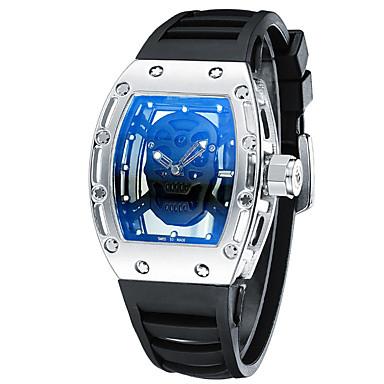 Ανδρικά Μοναδικό Creative ρολόι Ρολόι Καρπού Διάφανο Ρολόι Swiss Χαλαζίας / Δέρμα σιλικόνη Μπάντα Απίθανο Μαύρο Λευκή Μπλε