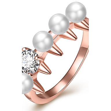 Damen Ring Imitierte Perlen Kubikzirkonia Personalisiert Geometrisch Einzigartiges Design Klassisch Retro Strass Böhmische Grundlegend