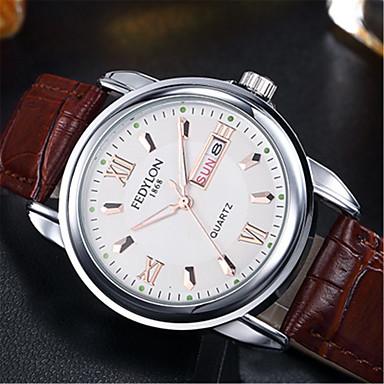 voordelige Lederen Horloge-Heren Modieus horloge Kwarts Formele Stijl Klassieke Stijl Leer Bruin 30 m / Analoog Informeel - Wit Zwart Blauw