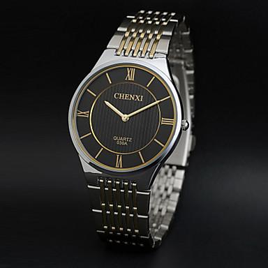 رخيصةأون ساعات الرجال-CHENXI® رجالي ساعة المعصم كوارتز ستانلس ستيل فضة ساعة كاجوال مماثل سحر ساعة بسيطة - ذهبي أبيض أسود