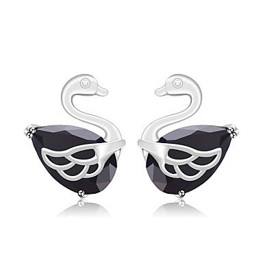 للمرأة أقراط الزر حلقات تصميم الحيوانات حجر الراين سبيكة بجعة مجوهرات زفاف حزب خطوبة هدية