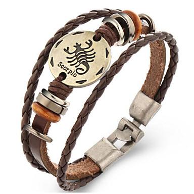 Herrn Damen Leder Lederarmbänder - Retro Geometrische Form Braun Armbänder Für Geschenk