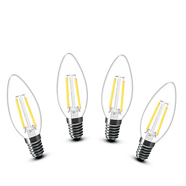 2W E14 Becuri LED Lumânare C35 2 led-uri COB Decorativ Alb Cald 200lm 2700K AC 220-240V