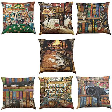 7 szt Bielizna Pokrywa Pillow Poszewka na poduszkę, Jendolity kolor Textured Wildlife Słowa i cytaty Nowość Na co dzień Biuro / Biznes