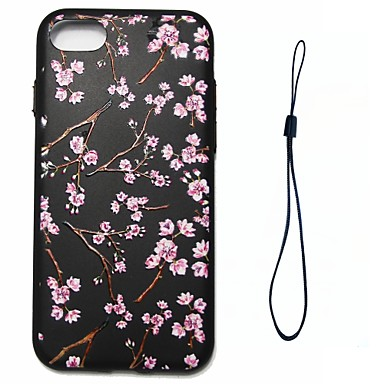 Voor apple iphone 7 7 plus 6s 6 plus se 5s 5 case cover perzik bloesem patroon brandstof injectie reliëf plating knop dikker tpu materiaal