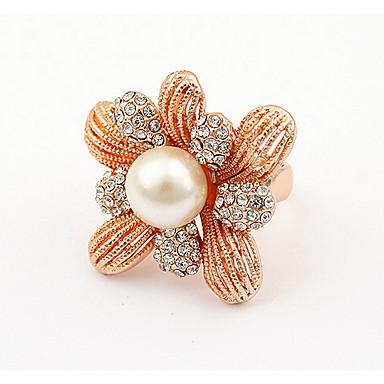 Bărbați Pentru femei Inel Band Ring Ștras Imitație de Perle Personalizat Floral Design Unic Stil Logo Clasic Vintage Boem De Bază