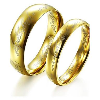 Çiftlerin İfadeli Yüzükler Yüzük Nişan yüzüğü Basic Tasarım Geometrik Moda Kişiselleştirilmiş Euramerican Titanyum Çelik Circle Shape