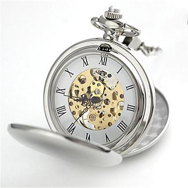 Χαμηλού Κόστους Ανδρικά ρολόγια-Ανδρικά Ρολόι Τσέπης Μηχανικό κούρδισμα Ρετρό Ασημί 30 m Αναλογικό Steampunk - Ασημί