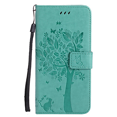 abordables Fundas para iPhone 5-estuche para iphone xr xs xs max monedero / porta tarjetas / con estuches cat / tree hard pu leather para iphone x 8 8 plus 7 7plus 6s 6s plus se 5 5s