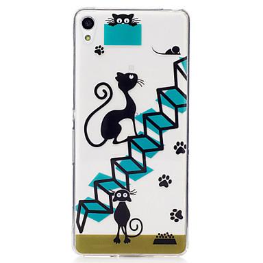 Για IMD Διαφανής Με σχέδια tok Πίσω Κάλυμμα tok Γάτα Μαλακή TPU για Sony Sony Xperia XA Sony Xperia M2
