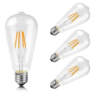 4pcs 4 W 400 lm E26/E27 LED Λάμπες Πυράκτωσης ST64 4 leds COB Διακοσμητικό Θερμό Λευκό AC 220-240V