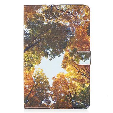 Für samsung galaxy tab e 9.6 case cover gelb holz muster gemalt karte stent wallet pu haut material flach schutz schale