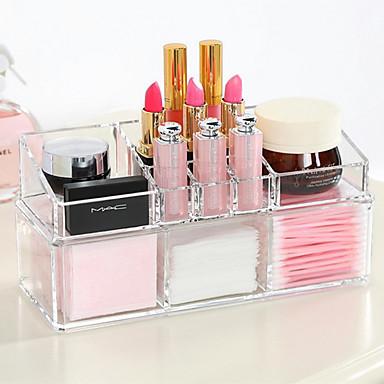 Acrylcomplex gecombineerd dubbele laag make-up borstel pot cosmetica opslag organizer 2 stuks set