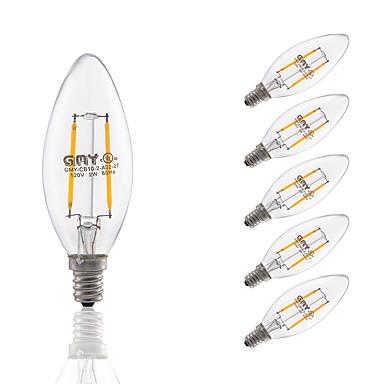3W E12 مصابيحLED C35 2 الأضواء COB تخفيت أبيض دافئ 200lm 2700K AC 110-130V
