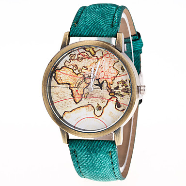 Χαμηλού Κόστους Ανδρικά ρολόγια-Ανδρικά Γυναικεία Μοδάτο Ρολόι ΠΑΓΚΟΣΜΙΟΣ ΧΑΡΤΗΣ Χαλαζίας Δέρμα Μαύρο / Λευκή / Μπλε Καθημερινό Ρολόι Αναλογικό Βίντατζ Παγκόσμιος Χάρτης Pattern - Πράσινο Μπλε Ροζ