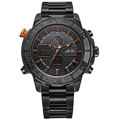 Męskie Sportowy Wojskowy Zegarek na nadgarstek Japoński Kwarcowy Cyfrowe Alarm Kalendarz Wodoszczelny LED Duża tarcza LCD Dwie strefy
