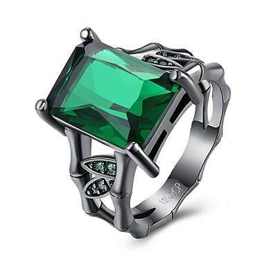Dames Aanbiddelijk Luxe / Bohémien / Hypoallergeen Kristal / Zirkonia Kristal / Zirkonia / Koper Ring - Vierkant Gepersonaliseerde / Luxe