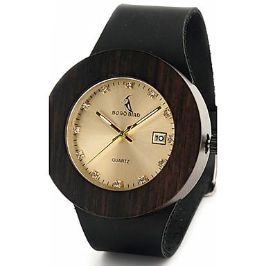 Bărbați Ceas La Modă Ceas de Mână Unic Creative ceas Ceas Casual Ceas Lemn Japoneză Quartz Quartz Japonez Calendar de lemn Piele Autentică