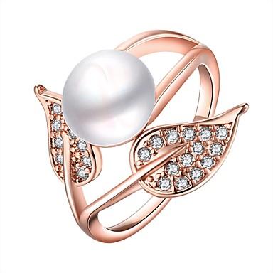 Pentru femei Inel Zirconiu Cubic Imitație de Perle Auriu Argintiu Trandafiriu Imitație de Perle Zirconiu Articole de ceramică Argilă