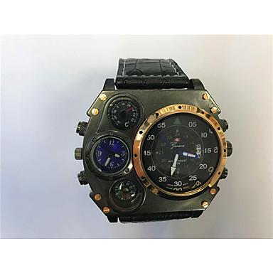 זול שעוני גברים-JUBAOLI בגדי ריקוד גברים שעוני ספורט שעונים צבאיים קווארץ עור שחור / חאקי לוח שנה אזור זמן כפול מגניב אנלוגי שעון קריאייטיב ייחודי - כחול כהה אדום לבן / Beige שנה אחת חיי סוללה / SSUO LR626