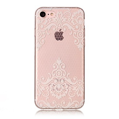 voordelige iPhone 5 hoesjes-hoesje Voor Apple iPhone X / iPhone 8 Plus / iPhone 8 IMD / Transparant / Patroon Achterkant Cartoon / Lace Printing / Bloem Zacht TPU