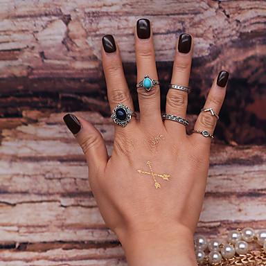 Midi Yüzükler Moda Eski Tip Euramerican alaşım Gümüş Mücevher Için Parti 6 adet