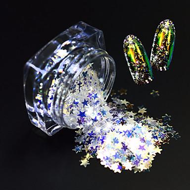 1 sticlă de moda frumos unghii art glitter stea paillette strălucitor felie subțire frumos stele design magic orbitor felie decorare sz03