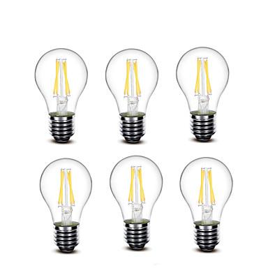 3.5 E27 LED-gloeilampen A60 (A19) 4 COB 400 lm Warm wit Decoratief AC220 AC230 AC240 V 6 stuks