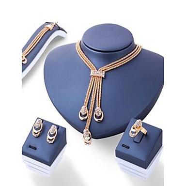 Pentru femei Seturi de bijuterii De Bază Ștras Șuviță unică 1 Colier 1 Pereche de Cercei 1 Brățară 1 Inel Pentru Logodnă Zilnic Casual