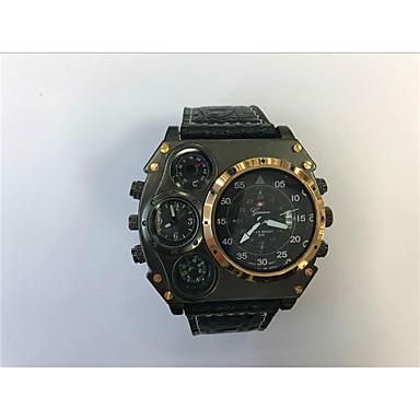 JUBAOLI Bărbați Unic Creative ceas Ceas Sport Ceas Militar  Quartz Calendar Zone Duale de Timp  Piele Bandă Cool Negru Khaki