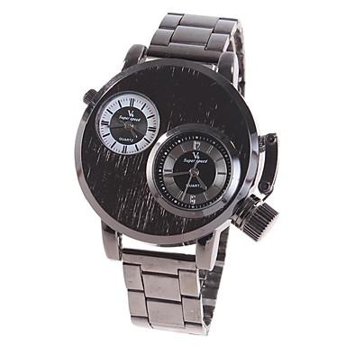 Erkek Elbise Saat Quartz Alaşım Bant Günlük Siyah Gümüş