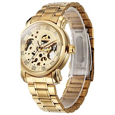 Heren Polshorloge mechanische horloges Automatisch opwindmechanisme Hol Gegraveerd Roestvrij staal Band Luxueus Goud Gouden