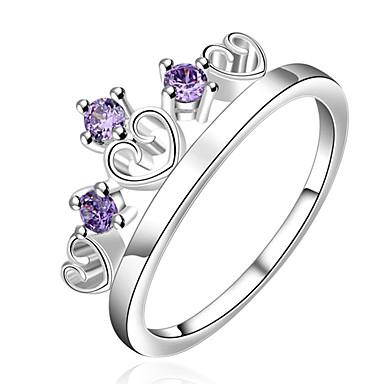 Damskie Duże pierścionki Pierscionek Kryształ Modny Osobiste euroamerykańskiej luksusowa biżuteria Kryształ Miedź Posrebrzany Crown Shape