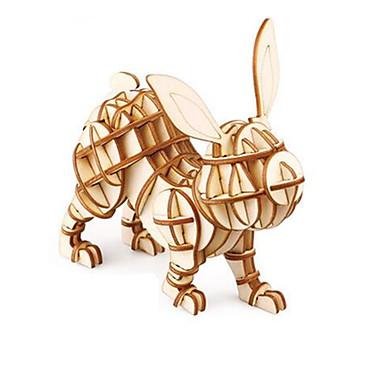 قطع تركيب3D ألعاب حيوان خشب للجنسين قطع