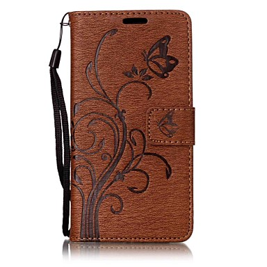 Maska Pentru Sony Sony Xperia XA Portofel Titluar Card Cu Stand Întoarce Embosat Magnetic Carcasă Telefon Culoare solidă Fluture Copac