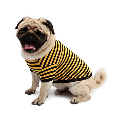 Hond T-shirt Hondenkleding Gestreept Geel Roze Wit / blauw Katoen Kostuum Voor huisdieren