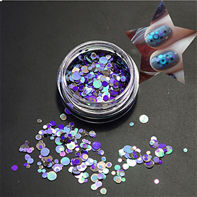 1 şişe moda açık stil mavi nail art karışık renkli lazer parıltı yuvarlak dilim çivi sanat güzellik paillette p16