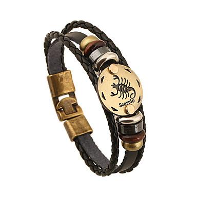 Heren Dames Armbanden met ketting en sluiting Vriendschap Vintage Kostuum juwelen Leder Ronde vorm Sieraden Voor