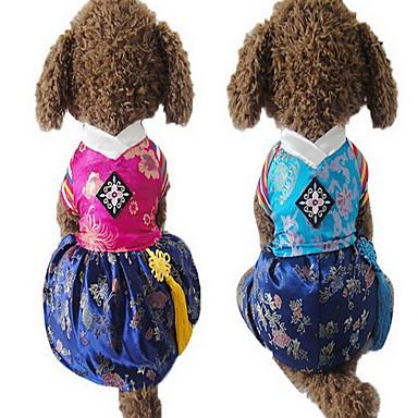 كلب حللا الفساتين ملابس الكلاب مطرز فوشيا أزرق قماش حرير كوستيوم للحيوانات الأليفة للرجال للمرأة جميل الزفاف
