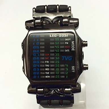 Herrn Teen Sportuhr Öko-Uhrwerk LED Caucho Band Freizeit Schwarz