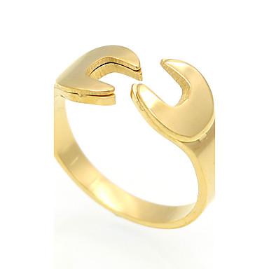 Bărbați Pentru femei Inel Inel de declarație Band Ring Auriu Argintiu Trandafiriu Oțel titan 18K Aur Pătrat Geometric Shape neregulat