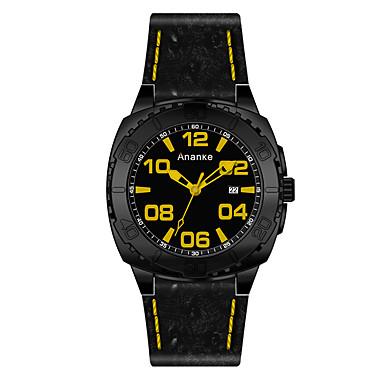 للرجال ساعات فاشن ساعة رياضية صيني كوارتز جلد فرقة كاجوال أسود