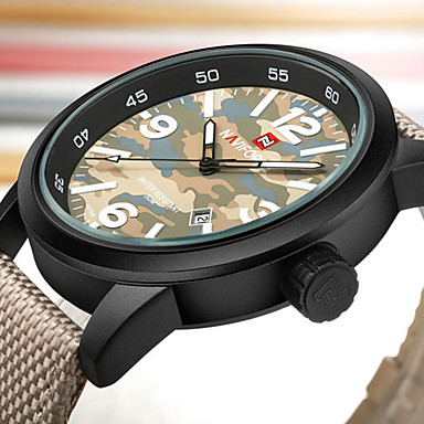 Heren Polshorloge Vrijetijdshorloge Sporthorloge Militair horloge Modieus horloge Japans Kwarts Kalender Grote wijzerplaat Nylon Band