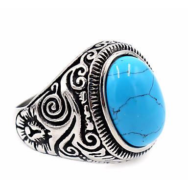 Heren Dames Ring Turkoois Uniek ontwerp Standaard Roestvast staal Topaas Rond Sieraden Kiitos Dagelijks Causaal Thanksgiving