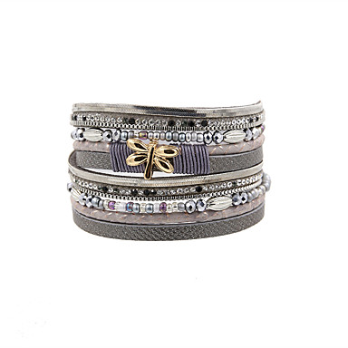 Dames Leder Lederen armbanden - Vintage / Bohémien / Turks Rechthoekig Zwart / Grijs / Rood Armbanden Voor Kerstcadeaus / Bruiloft / Feest