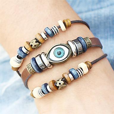 للرجال للمرأة أساور من الجلد أساور التفاف مجوهرات قديم بوهيميان تركي مصنوع يدوي هيب هوب موضة بانغك خشبي حصى جلد سبيكة دائري Geometric