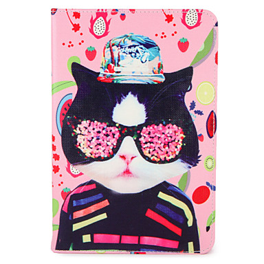 Maska Pentru Apple iPad Mini 4 iPad Mini 3/2/1 iPad Air 2 iPad Air Cu Stand Întoarce Model Carcasă Telefon Pisica Fruct Greu PU piele